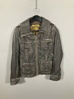 SUPERDRY LEATHER BOMBER Jacket - Size Small - Brown - Great Condition - Men's