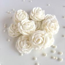 White Roses & Pearls Sugar Edible Flowers Christening Cake Decorations Toppers
