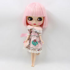 """12"""" Blythe Nude Doll from Factory short pink hair matte face free shipping sale"""