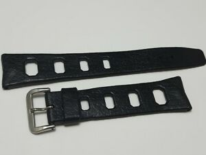 VINTAGE 1960's 20MM SWISS MADE TROPIC STYLE BLACK RUBBER WATCH BAND STRAP  *7252