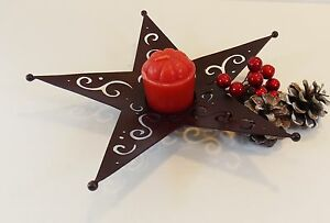 Christmas Star Shaped Bronze Metal Candle Holder/Rustic/Country