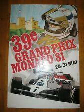 Ancienne AFFICHE 60x40 NUMEROTEE GRAND-PRIX F1 MONACO 1981 Formule 1 Alan Jones