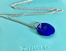 Tiffany & Co Silver Peretti Lapis Lazuli Circle Disc Pendant 27in Necklace  1811