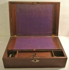 ANTIQUE Wood Wooden Lap TRAVEL DESK Writing Box + CONTENTS Pencils