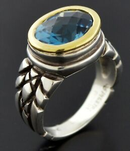 Finestra 18k Yellow Gold Sterling Silver Faceted Oval Blue Topaz Ring Size 4.75