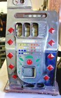 Antique 1940's Slot Machine MILLS DIAMOND FRONT 5 CENT Chrome Face w/Jackpot