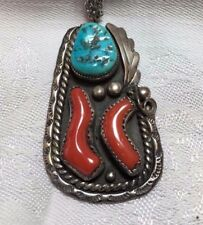 handcrafted, sterling silver, Signed Turquoise & Coral Necklace, Vintage,