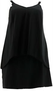 Denim & Co Beach Hi-Low Tankini Swimsuit Skirt Black 6 NEW A303155