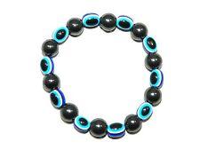 B-0157 - Para Hombre 10mm magnético Hematita Piedras Preciosas & Lucky mal de ojo hecho a Mano Pulsera