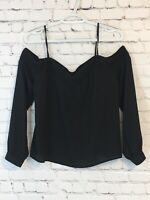 Express Womens Shirt Size Small Black Off The Shoulder Lace Trim Cuff Sleeve