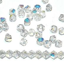 SCB317f Crystal AB 4mm Xilion Faceted Bicone Swarovski Crystal Beads 48pc