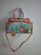 "Women's Anuschka Leather Hand Painted ""Owl Love"" Satchel Handbag Cross Body Bag"
