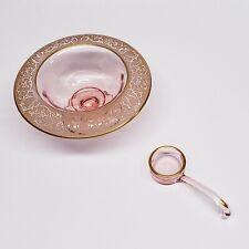 Pink Depression Glass Art Nouveau Gold Rolled Edge Pedestal Bowl / Ladle 2pc Set