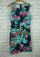 Love & Pebbles A-Line Dress Sleeveless Blue, Pink Floral Print Sz 10 Exposed Zip