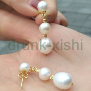Excellent Baroque AAA South Sea White Baroque Pearl Earrings Stud 14k Gold p