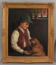 Antique ERNEST DE NAGY Hungarian Boy & Cocker Spaniel Dog Portrait Oil Painting