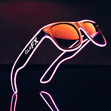Pink EL Wire Sunglasses LED Rave Light Up Flashing EDC Luminescence Prism Lights