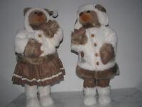 70cm Weihnachtsbärin mit Rock & Weihnachtsbär Weihnachtsdekoration Weihnachten