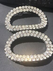 Musi Signed Clear Rhinestone Vintage Shoe Clips