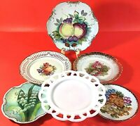 "VINTAGE PLATES SET OF 6 HAND PAINTED RETICULATED SCALLOPED 8 3/8"" TO 5 7/8"""
