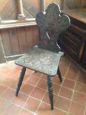 Victorian Antique Scottish Thistle Carved Walnut Hall Chair 19th century