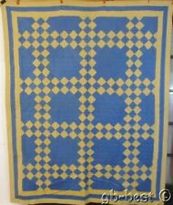 Indiana Amish ! c 1920s Steeple Chase Quilt Vintage Yellow Blue Farmhouse