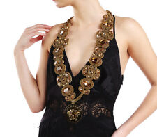 New Versace Chain and Crystal Embellished Necklace with Medusa medallion