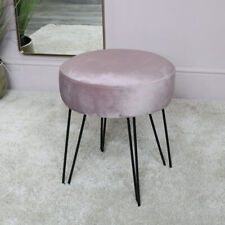 Soft pink upholstered stool black hairpin legs girl boudoir dressing table stool