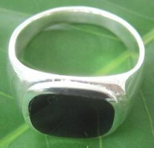 "925 sterling silver Square-Curb ""BLACK ONYX"" SOLID ring size 9.5 - 11.5 -BOY MEN"