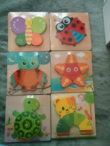 Wooden Jigsaw Puzzles Set, 6 Pack Animals Puzzles Toddlers Kids Learning Toy