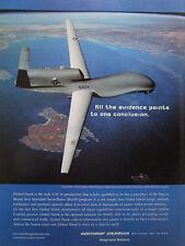 9/2004 PUB NORTHROP GRUMMAN UAV DRONE GLOBAL HAWK NAVY BAMS ORIGINAL AD