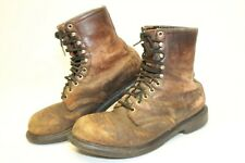 Red Wing Shoes Vintage USA Made Mens 9 D Distressed Leather Steel Toe Work Boots