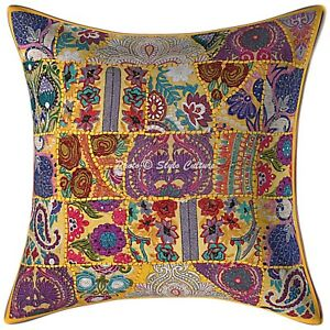 Decorative Cotton Bohemian Yellow 24 x 24 Vintage Patchwork Throw Pillow Cover