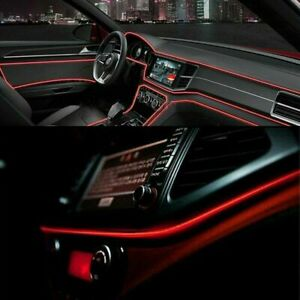 12V LED Auto Car Interior Decor Atmosphere Wire Strip Light Lamp Accessories Red