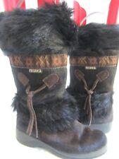 Tecnica Black Brown Fur Leather Apres Ski Snow Winter Boots 6 Italy Classic EXC