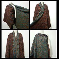 NEW WOMENS 100% Wool LARGE Shawl,WRAP, GREEN/MAROON FLOWER SCARF,BLANKET,PLAID