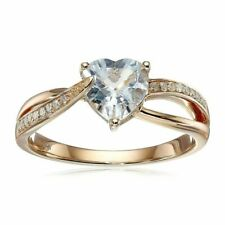 Natural Aquamarine Heart Ring With Diamonds in 14k Rose Gold