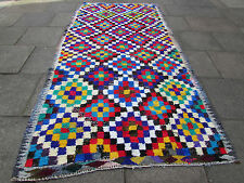 Old Tribal Hand Made Oriental Persian Cotton Bright Colourful Kilim 332x171cm
