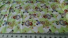 RAGGEDY ANN BUTTERFLY CATCHING ON LIME FLANNEL FABRIC BY THE YARD