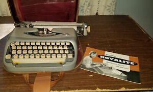 Vtg Royalite Portable Manual Typewriter w/ Case & Manual Made in Holland Works!!