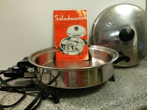SALADMASTER 7817 Stainless Steel Electric Skillet Vapo Lid Liquid Core Fry Pan