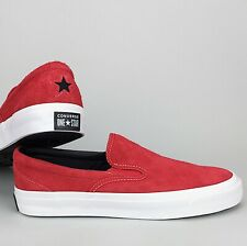 New Converse One Star CC Slip-On Low Top Sneaker Enamel Red / White Fuzzy Suede