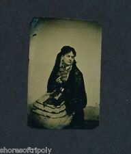 19th C. VICTORIAN LADY MOURNING PORTRAIT ~ BROOCH ~ LACE SHAWL ~ ORIGINAL PHOTO