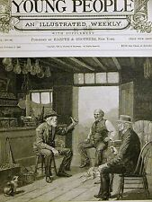 A.W. Storm OLD MEN TALKING in MEAT BUTCHER SHOP 1888 Antique Engraving Matted