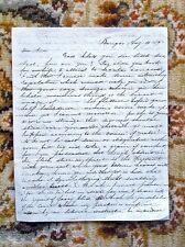 1849 LETTER by EDWARD P. BURNHAM, MASON GRAND MASTER, SON OF AMERICAN REVOLUTION
