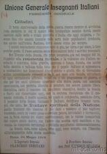 § PICCOLO MURALE UNIONE INSEGNANTI ITALIANI 1918 - APPELLO RESISTENZA MORALE