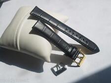QUALITY 20mm BLACK ITALIAN LEATHER LOUISIANA ALLIGATOR GRAIN PADDED WATCH STRAP