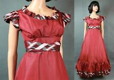 70s 80s Prom Dress Sz S Long Dark Burgundy Red Taffeta Flared Gown Costume