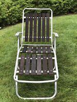 Vintage Mid Century Lounge Chair Redwood Wood Slats Aluminum Lawn Folding Patio