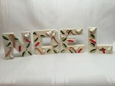 Vintage Letter Noel Candle Holders Christmas Decoration Bells Holly Japan. S7